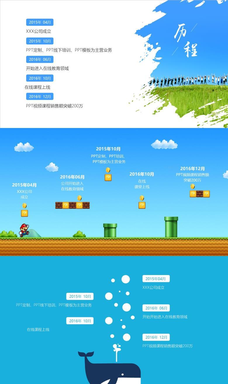 3页蓝色商务企业发展历程时间轴PPT图表