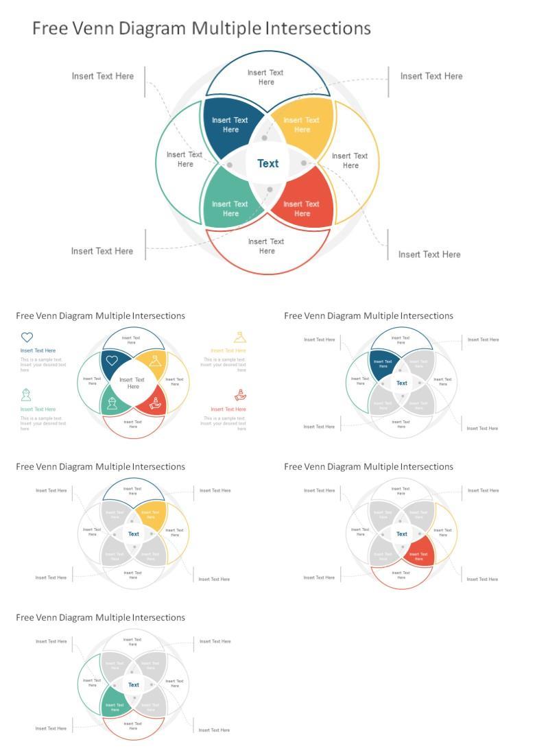 多彩4项目循环关系并列关系PPT图表