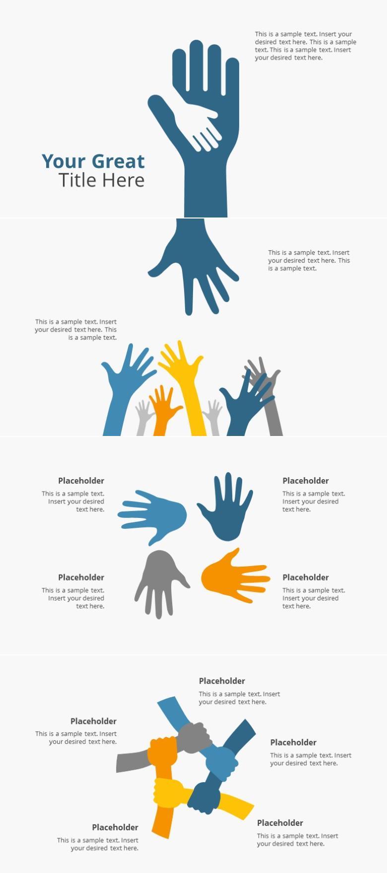 4页手型手掌握手团队PPT图表