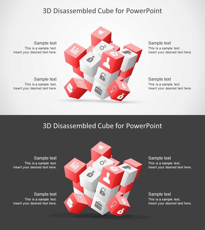 4项式3D魔方并列矩阵PPT图表