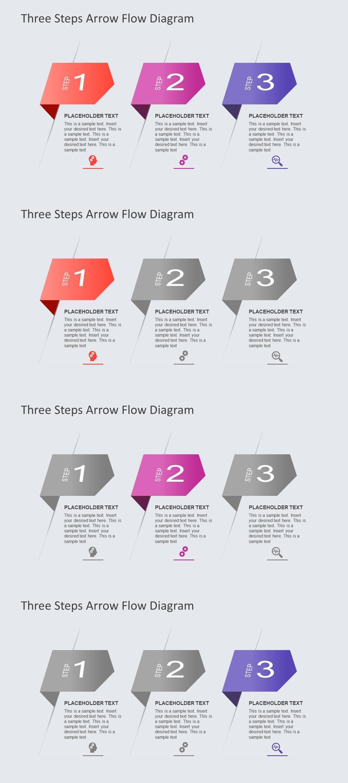 三项目箭头步骤流程PPT图表