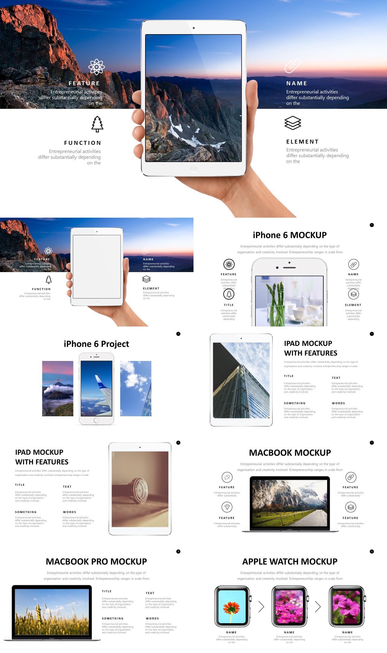 iPhone手机iPad平板MacBook笔记本8页PPT样机