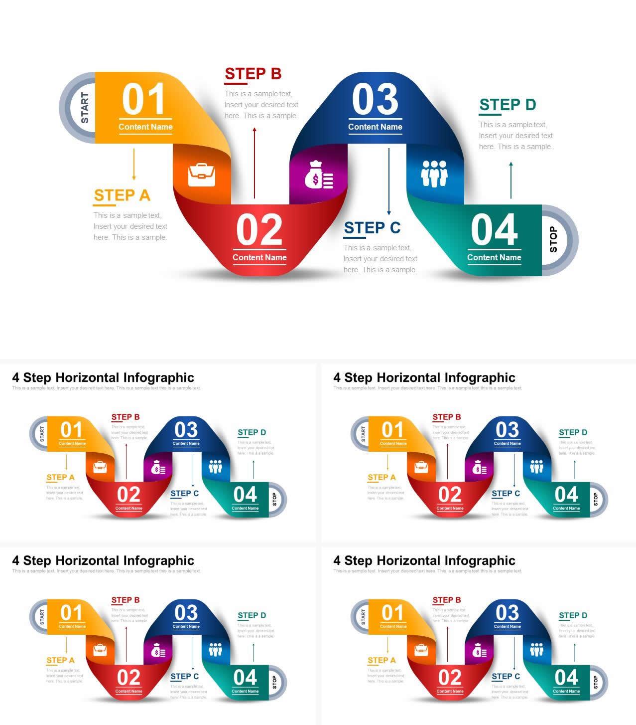 多彩渐变彩带4步骤流程PPT图表模板