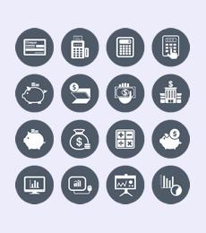 140个圆形背景风格商业科技图标