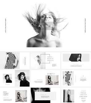 时尚杂志风女模特PPT模板下载