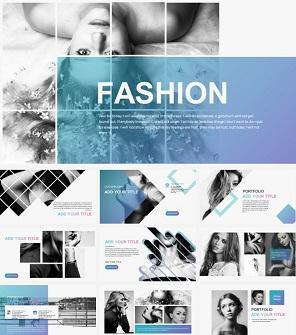 时尚女模特杂志PPT模板下载