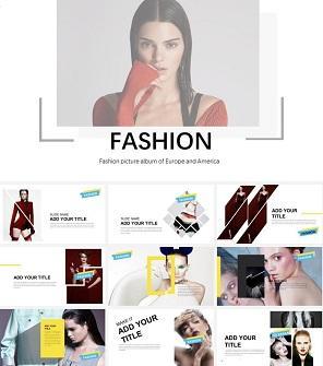 时尚服饰模特明星艺人PPT模板下载