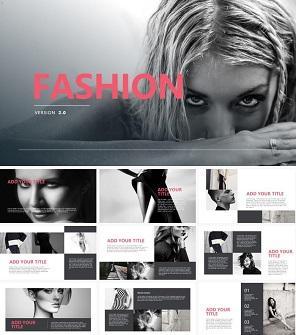 粉黑色时尚设计工作室模特杂志PPT下载