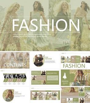 田野绿时尚设计工作室简介PPT模板下载