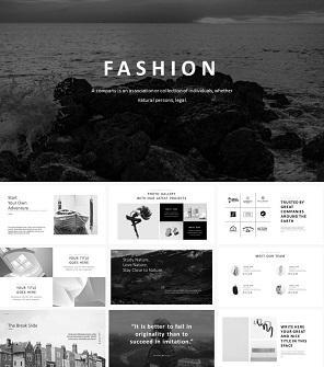 酷黑时尚设计模特公司PPT模板下载