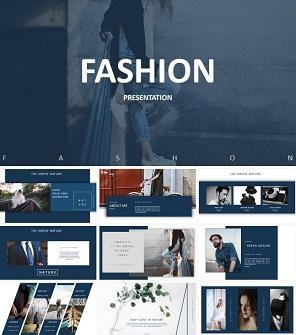 深蓝时尚时装设计工作室企业介绍PPT模板下载