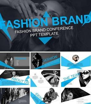 蓝黑创意时尚品牌设计PPT模板下载