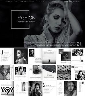 酷黑时尚杂志PPT模板 明星写真相册PPT下载