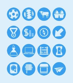 蓝色圆形扁平化常用PPT图标素材下载