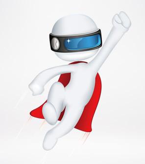 3D小人戴头盔眼镜 透明背景PPT图片素材