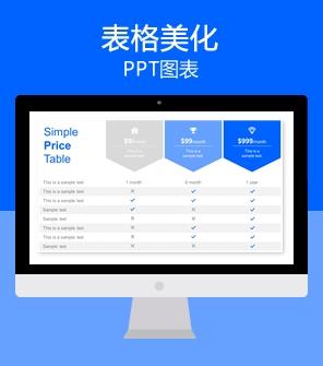 蓝色数据表格PPT图表模板 表格美化下载