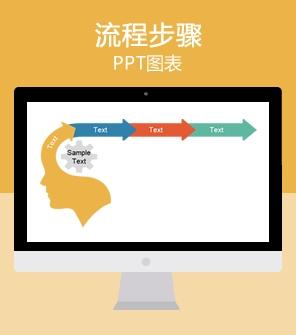 大脑图 四项目流程步骤PPT图表模板下载