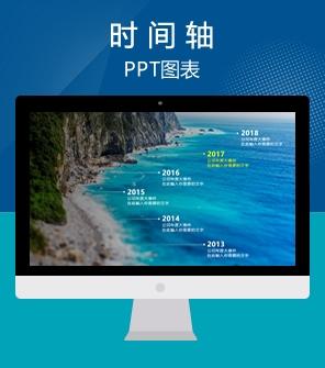 大气山峰背景时间轴PPT图表下载
