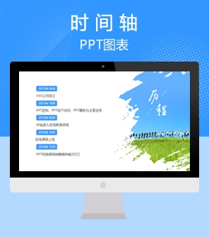 3页蓝色商务企业发展历程时间轴PPT图表下载