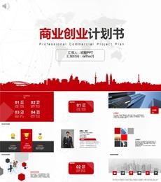 红色简约商业创业计划书PPT模板