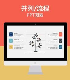 创意小树苗成长流程步骤PPT图表下载