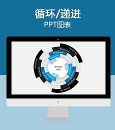 蓝黑三项目旭日图PPT图表下载