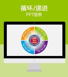 四色渐变多层次环形PPT图表下载