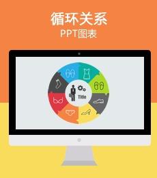 9页多彩循环关系PPT图表下载