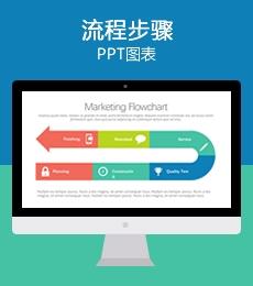 多彩环形跑道流程步骤PPT图表下载