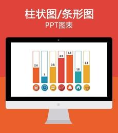 多彩柱状图条形图PPT数据图表