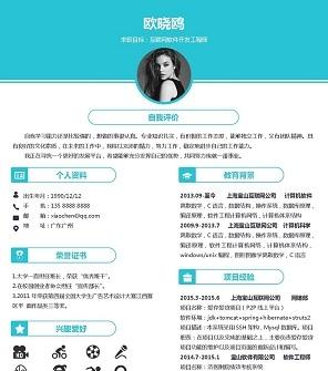 蓝色互联网软件开发工程师Word简历