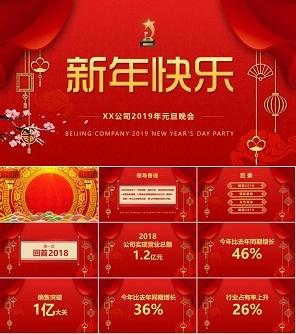 红色中国风倒计时年会颁奖元旦晚会PPT模板