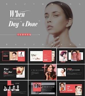 粉色高端时尚品牌杂志凤美容整形PPT模板下载