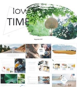 时尚小清新旅行日记相册PPT模板下载