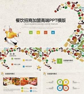 餐饮招商加盟高端PPT模版