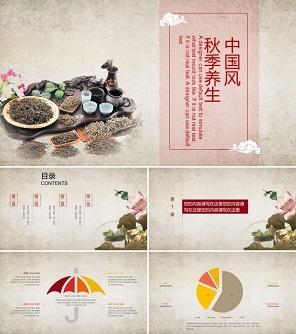 中国风茶道养生ppt模板下载
