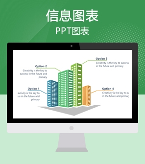 40页绿色PPT图表 可视化信息图表下载