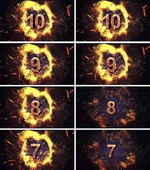 火焰震撼片头开场10秒倒计时PPT模板