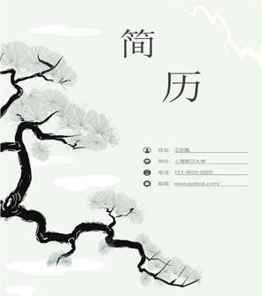 中国风水墨简约个人world简历模板