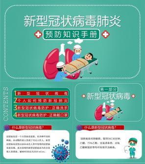 开学第一课新型冠状病毒肺炎预防知识手册PPT模板下载