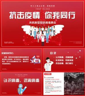 全国抗击预防新型冠状病毒PPT模板下载