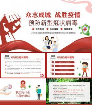 红色简约全国抗击预防新型冠状病毒卫生健康知识ppt模板下载