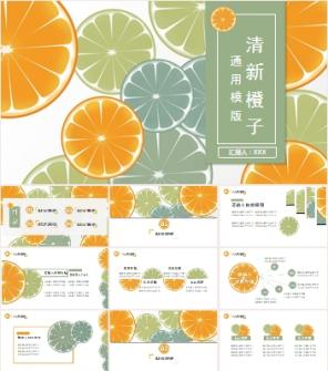 清新橙子背景工作总结工作计划PPT模板